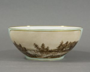 Antique Serving Bowl with Hand Painted Landscapes