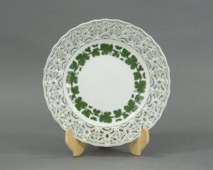 A Meissen Green Vine Reticulated Plate.