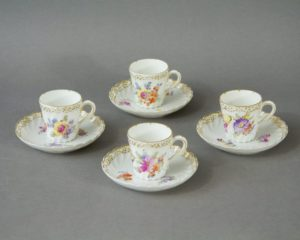 Nymphenburg - Four Eggshell Porcelain Cups and Saucers