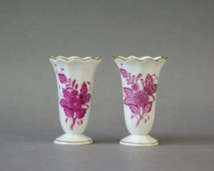 Herend Hungary - Apponyi / Chinese Bouquet Purpur - Pair of Miniature Vases