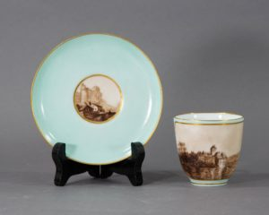 Antique Coffee Cup with Hand Painted Landscapes