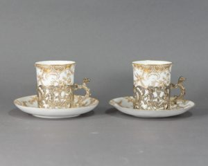 Copeland's China - Set of Two Demitasse Silver Mounted Cups