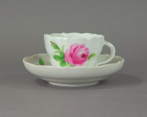 Meissen - Rote Rose - Antique Coffee Cup and Saucer