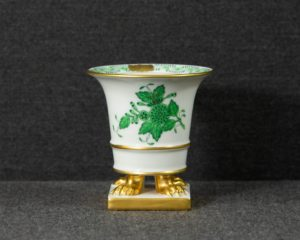 A Herend Apponyi Green Miniature Footed Vase.