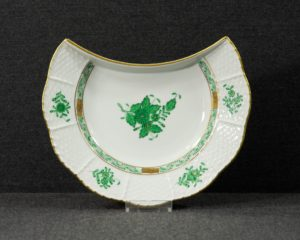A Herend Apponyi Green crescent shaped side plate.