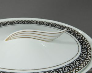 marqueterie lidded serving bowl