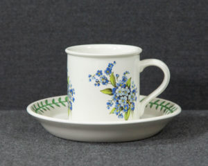 A Portmeirion The Botanic Garden Bone China 'Forget-Me-Not' Coffee Cup.