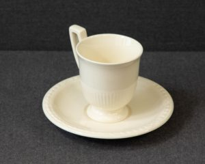 A Recamier Royal Creamware Coffee Cup and Saucer.