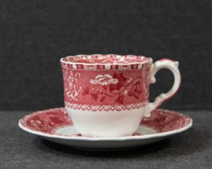 A Spode Pink Camilla Demitasse Cup and Saucer.