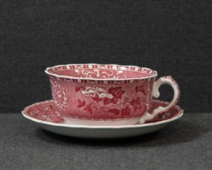 A Spode Pink Camilla Breakfast Cup and Saucer.