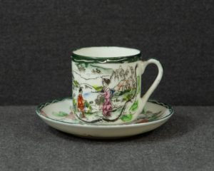 A nice antique Japanese coffee cup and saucer.