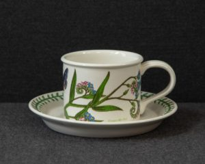 A Portmeirion The Botanic Garden 'Forget-Me-Not' Teacup and Saucer.